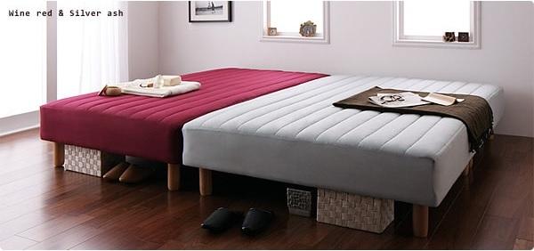 シングルサイズのマットレスベッドを2台並べてキングサイズに『新・色・寝心地が選べる!20色カバーリングマットレスベッド』
