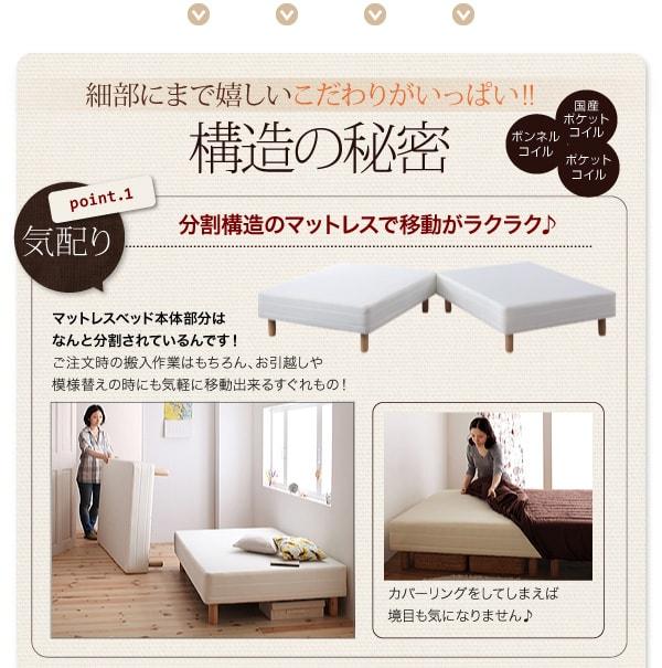 ヘッドレスで省スペースなマットレスベッド『新・色・寝心地が選べる!20色カバーリングマットレスベッド』