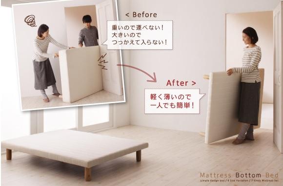 『搬入・組立・簡単!選べる7つの寝心地!すのこ構造 脚付きマットレスボトムベッド』をサンプルにボトムベッドの搬入が簡単なことを説明