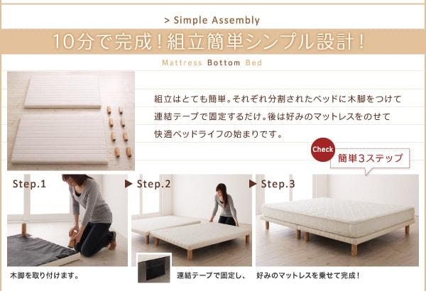 組立見積もり時間10分の『搬入・組立・簡単!選べる7つの寝心地!すのこ構造 脚付きマットレスボトムベッド』