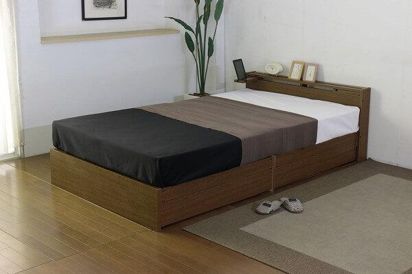 タブレットスタンドがある収納ベッド『ス棚テーブル引出付きベッド』