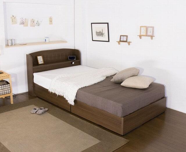 収納ベッドシングル通販 カントリー調ベッド『引き出し付きカントリー調ベッド』
