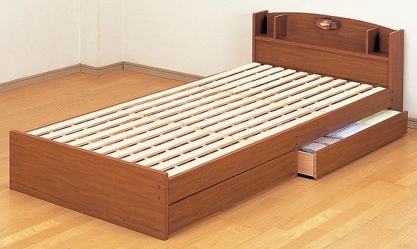 収納ベッド通販 ロングタイプ収納ベッド『【日本製】宮・引き出し付きすのこベッドブラウン』