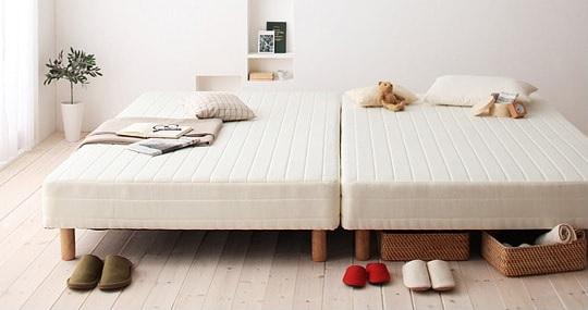 シングルサイズのマットレスベッドを2台並べてキングサイズに『脚付きマットレスベッド ベーシックポケットコイルマットレス』