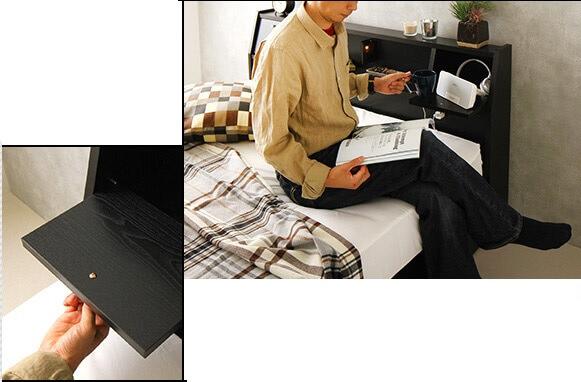 収納ベッド通販 フラップテーブル付き収納ベッド『国産 フラップテーブル付き 照明付き 収納ベッド【AJITO】アジット』