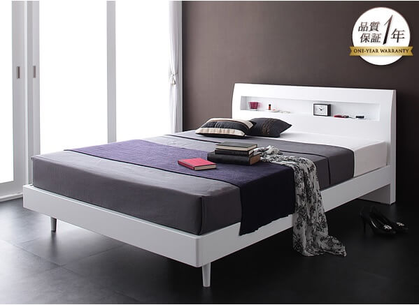 白いベッド『棚・コンセント付きデザインすのこベッド【Alamode】アラモード』