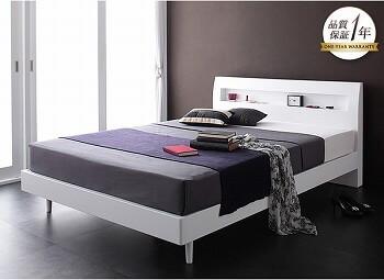 シンプルベッドフレーム通販 すのこベッド『棚・コンセント付きデザインすのこベッド【Alamode】アラモード』