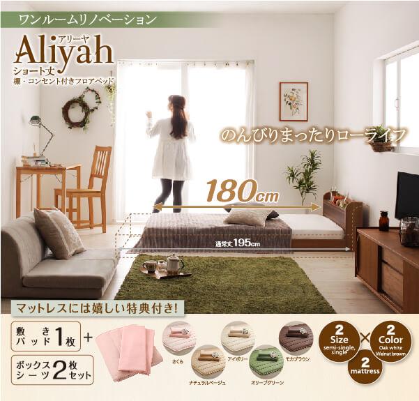 ショート丈棚・コンセント付きフロアベッド【Aliyah】アリーヤ