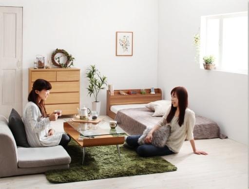 ショート丈の安くて小さいベッド『ショート丈棚・コンセント付きフロアベッド【Aliyah】アリーヤ』