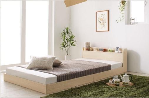 低いベッド通販『ショート丈棚・コンセント付きフロアベッド【Aliyah】アリーヤ』