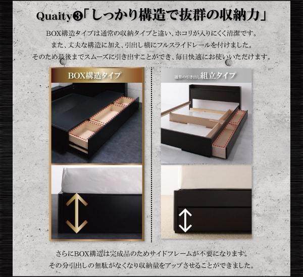 収納ベッドシングル通販 BOX構造の収納ベッド『【Altair】オルテア LED照明・コンセント付き収納ベッド』