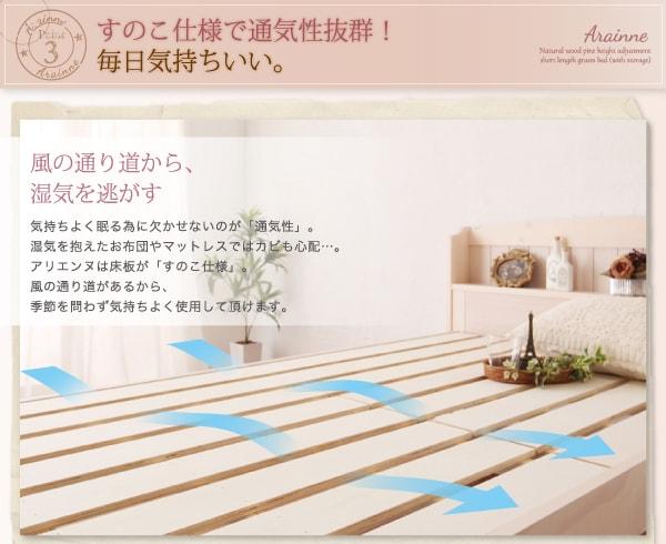 『ショート丈高さ調節すのこベッド 天然木パイン材 コンセント・収納付 Arainneアリエンヌ』