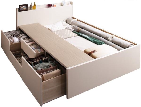 収納ベッドシングル通販 大容量収納ベッド『棚・コンセント付き 大容量チェストベッド【Auferte】オーフェルテ』