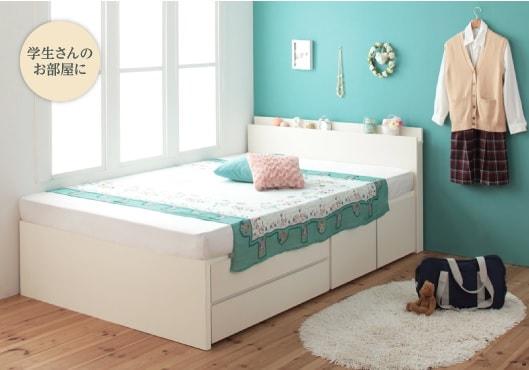 白いベッドのが似合うパステルカラーのベッド『棚・コンセント付き_大容量チェストベッド【Auxilium】アクシリム』
