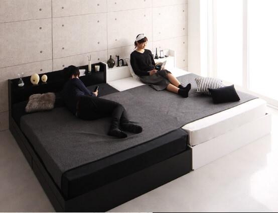 収納ベッド通販 インダストリアル収納ベッド『棚・コンセント・収納付き大型モダンデザインベッド【BAXTER】バクスター』