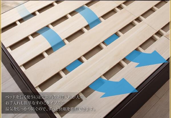 収納ベッド通販 跳ね上げすのこ収納ベッド すのこ床板にマットレスを置くタイプ