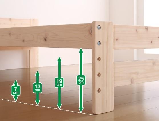 多機能ポイント4『高さ可能棚・コンセント付純国産天然木すのこベッド【BOSQUE+】ボスケプラス』