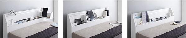 タブレットスタンドがあるベッド『可動棚付きヘッドボード・収納ベッド 【BRUXA】ブルーシャ』