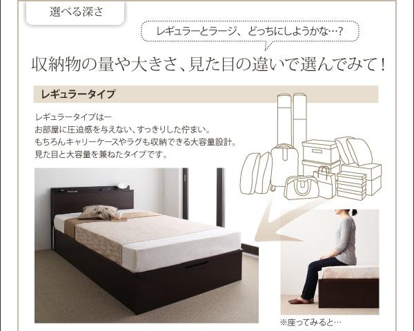 収納ベッドシングル通販 深さを選べるガス圧跳ね上げ式収納ベッド【Beegos】ビーゴス