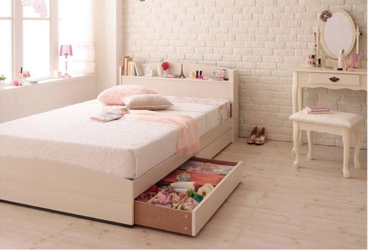 ホワイトウォッシュの可愛い姫系収納ベッド『フレンチカントリーデザインのコンセント付き収納ベッド【Bonheur】ボヌール』