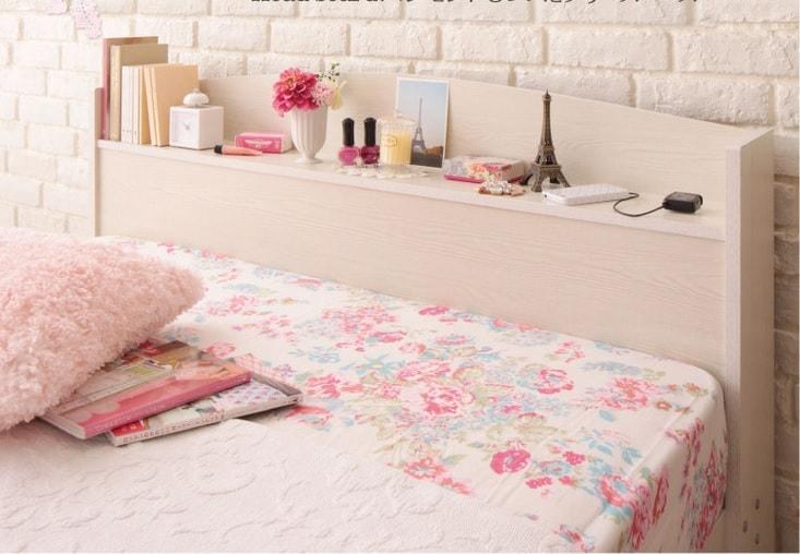 収納ベッドシングル 姫系収納ベッド『【Bonheur】ボヌール フレンチカントリーデザインのコンセント付き収納ベッド シングル』