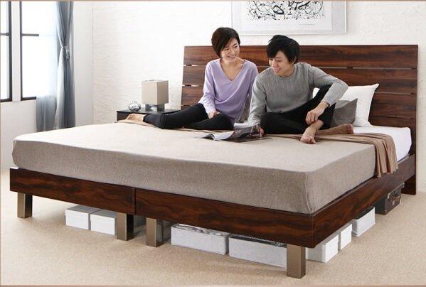 高級感のあるシングルサイズのベッドを2台ぴったり並べる『ハイヘッドデザインすのこベッド【Brat】ブラート』