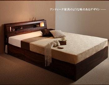 収納ベッドシングル通販 サイドキャビネットのある収納ベッド『モダンライト・コンセント付き収納ベッド 【Butler】バトラー』