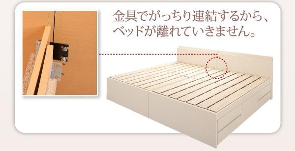 連結金具がついている大型収納ベッドの連結部分