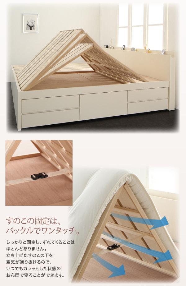 一人暮しに便利な布団が干せるベッド『国産大容量収納ファミリーチェストベッド【COLRIS】コルリス』