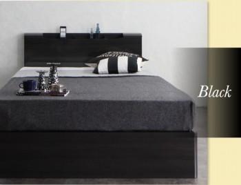 収納ベッドシングル通販 黒いベッド『棚・コンセント付きハイグロス収納ベッド【Champanhe】シャンパニエ』