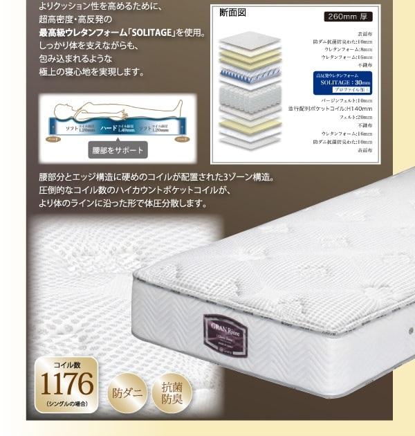収納ベッドシングル通販 最高級ウレタン国産ナノポケットコイルマットレス(ハードタイプ)
