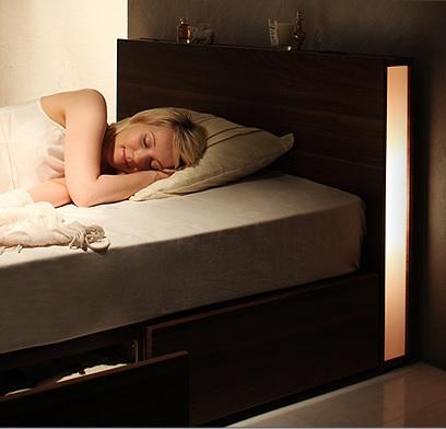 収納ベッドシングル通販 間接照明付収納ベッドシングルサイズ