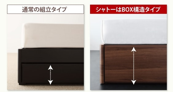 BOXタイプ引出の収納ベッドは収納容量が多い