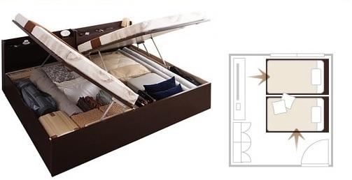 収納ベッドシングル通販 シングルベッドを2台ぴったり並べられる縦横開きを選べるガス圧跳ね上げ式収納ベッドは便利
