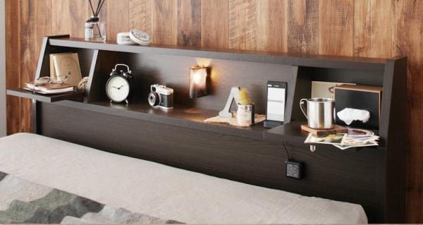 シンプルベッドライトのフロアベッド『フラップ棚・照明・コンセント付多機能チェストベッド【Coleus】コリウス』
