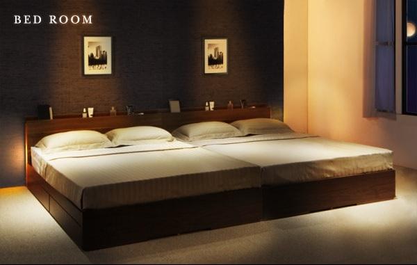シングルベッドを2台ぴったり並べてキングサイズにできるベッド『スリムモダンライト付き収納ベッド【Cozy Moon】コージームーン』