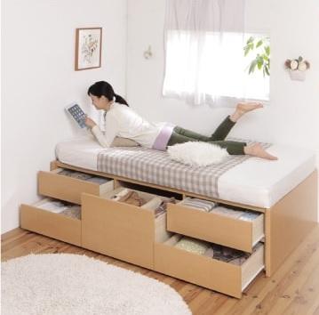収納ベッドシングル通販 小さいベッド『日本製_ヘッドレス大容量コンパクトチェストベッド【Creacion】クリージョン』