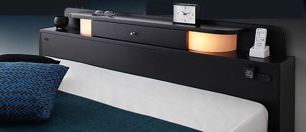 ダブルベッドライトのフロアベッド『照明・コンセント付きフロアベッド【Dewx】デュークス』