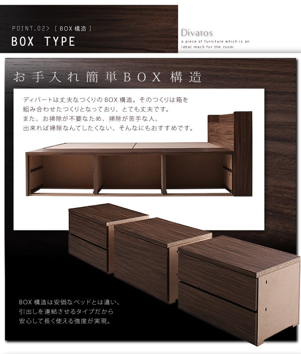 収納ベッドシングル通販 BOX構造収納ベッド『【Divatos】ディバート 棚・コンセント付きチェスト収納ベッド』