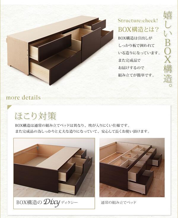 収納ベッドシングル通販 BOX構造の収納ベッド『シンプルチェストベッド【Dixy】ディクシー』
