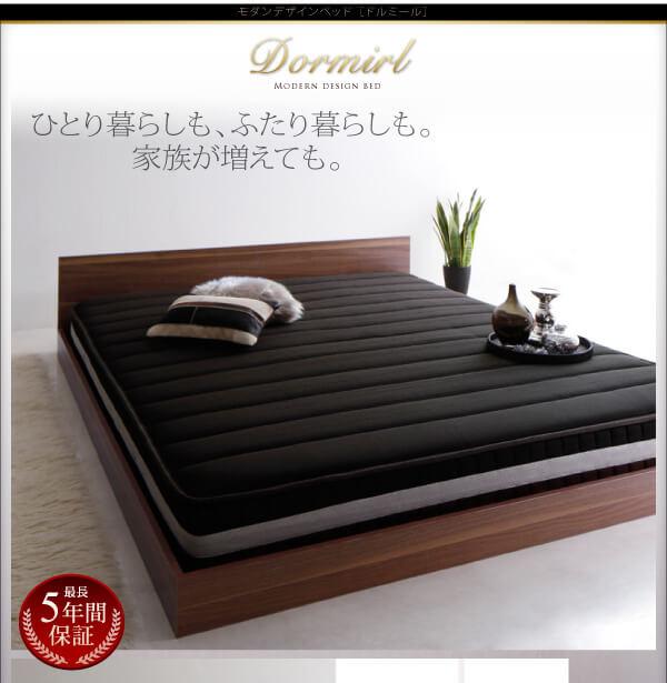 1台でキングサイズのマットレスのベッド『モダンデザインベッド【Dormirl】ドルミール』