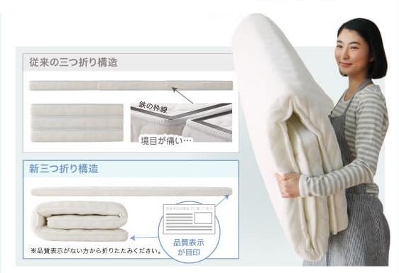ショート丈サイズがあるマットレス『快眠 敷布団マットレス 薄型・軽量・高通気【EVA Air】エヴァ エアー』