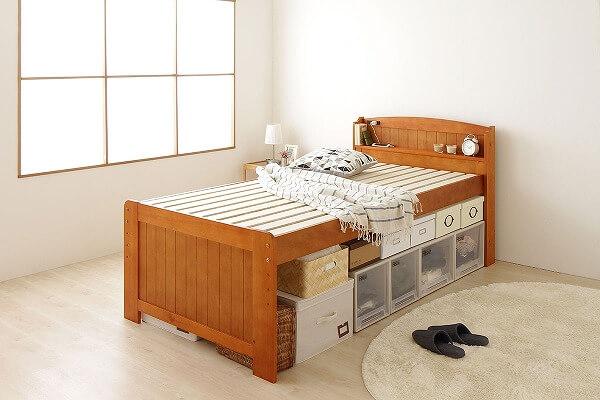 小さくて安いベッド『布団対応 高さ調整可能 大容量ベッド下収納【Ecru】エクル』