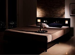 一人で広々、二人で親密・・・クイーンサイズベッドのある暮らし『モダンライト・コンセント付きすのこベッド【Eleonora】エレオノーラ』クイーンサイズ