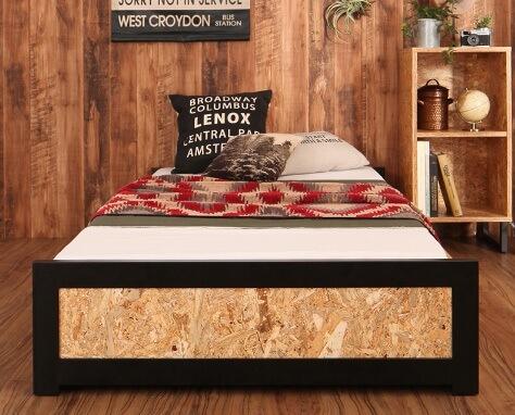 ナチュラルコーディネートにおススメのOEB素材のベッド『ヴィンテージデザインOSBすのこ【Elvin】エルヴィン』