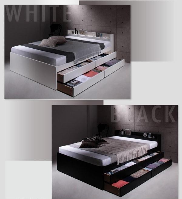 収納ベッド通販 インダストリアル収納ベッド『棚・コンセント付き大容量収納チェストベッド【Estimu】エスティーム』