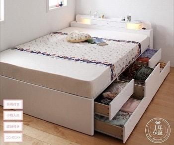 収納ベッドシングル通販 ウレタン塗装収納ベッド『照明・コンセント付きチェストベッド【FARMY】ファーミー』