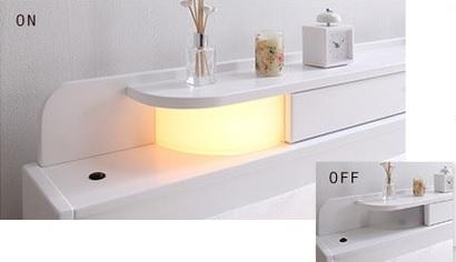 ホワイトの可愛い2段チェスト収納ベッド『照明・コンセント付きチェストベッド【FARMY】ファーミー』