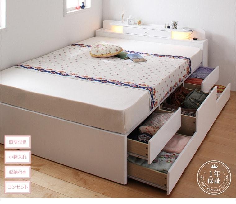 ホワイトの可愛い姫系収納ベッド『2段チェスト収納ベッド『照明・コンセント付きチェストベッド【FARMY】ファーミー』