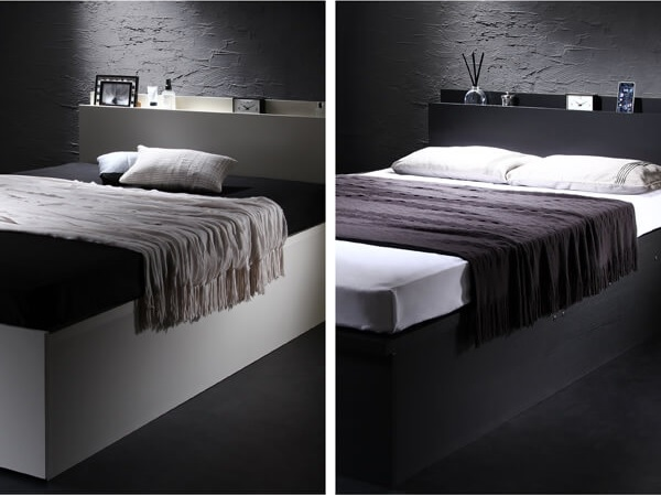 収納ベッド通販 インダストリアル収納ベッド『シンプルデザイン大容量収納跳ね上げ式ベッド【Fermer】フェルマー』